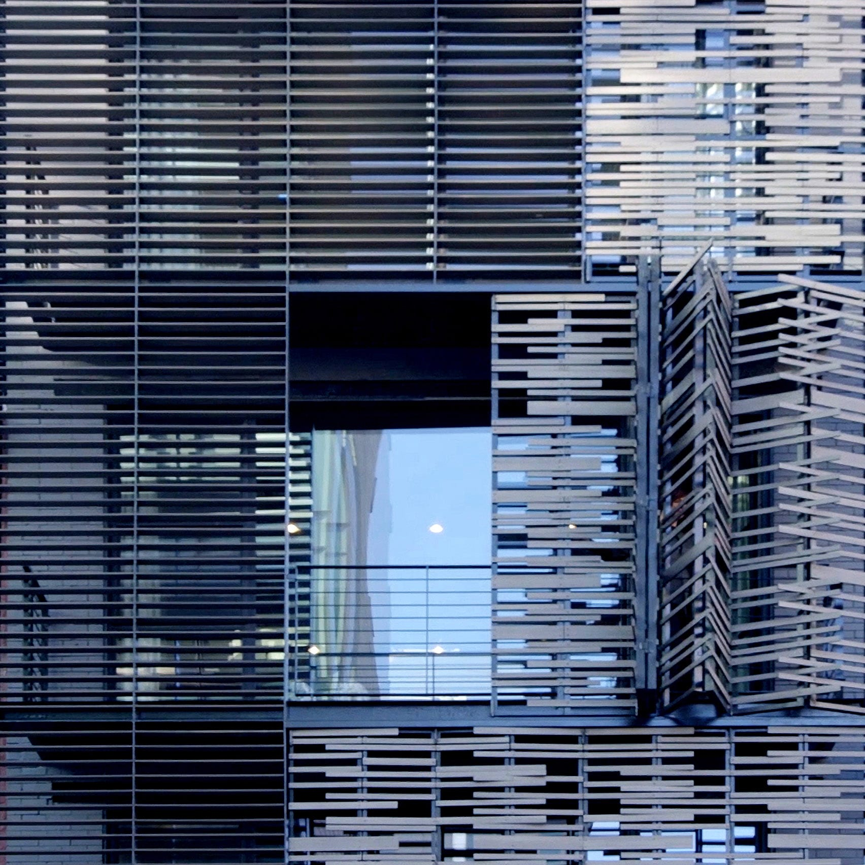 Close-up of folding facade panels
