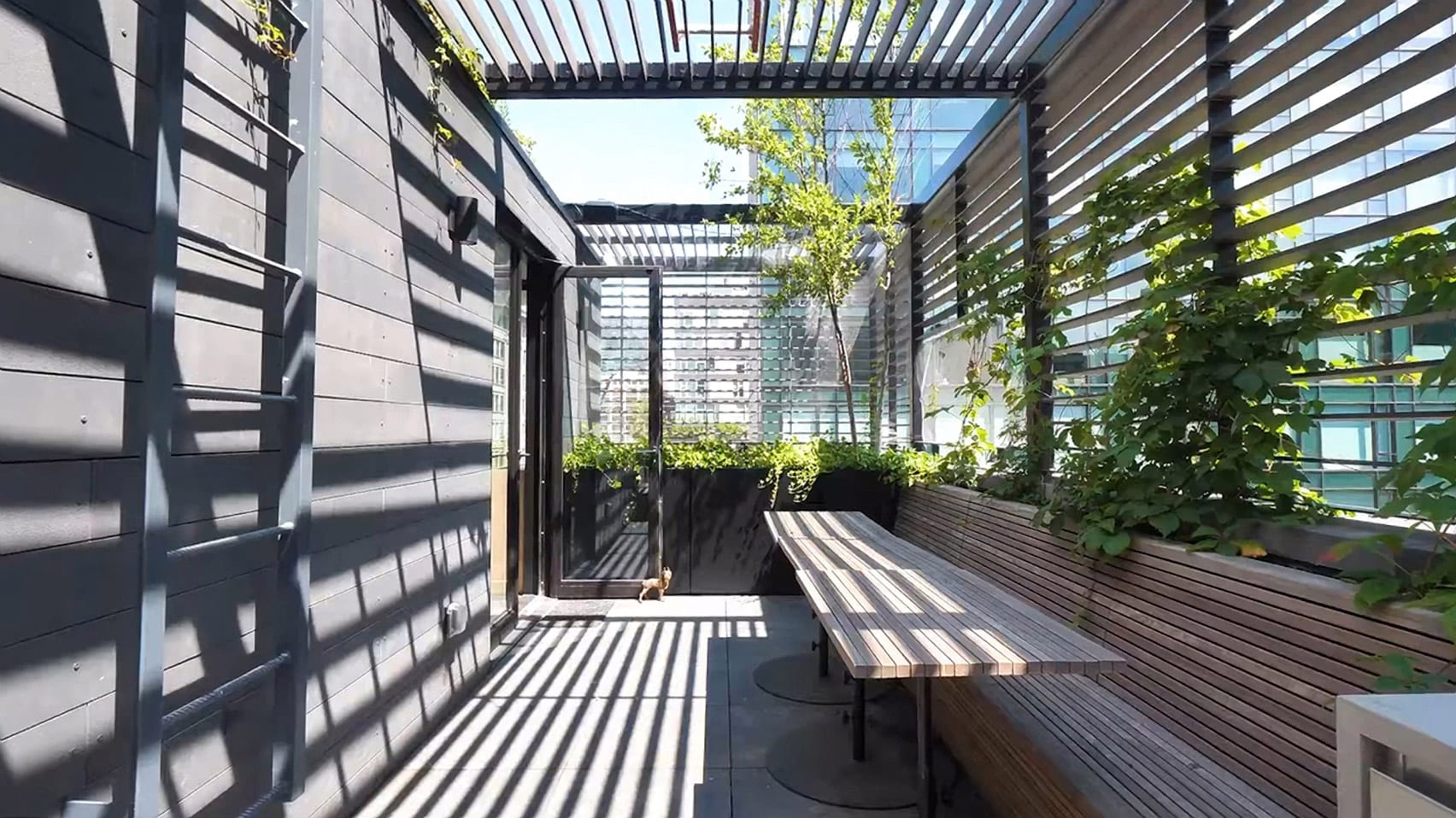 Dining area on roof terrace