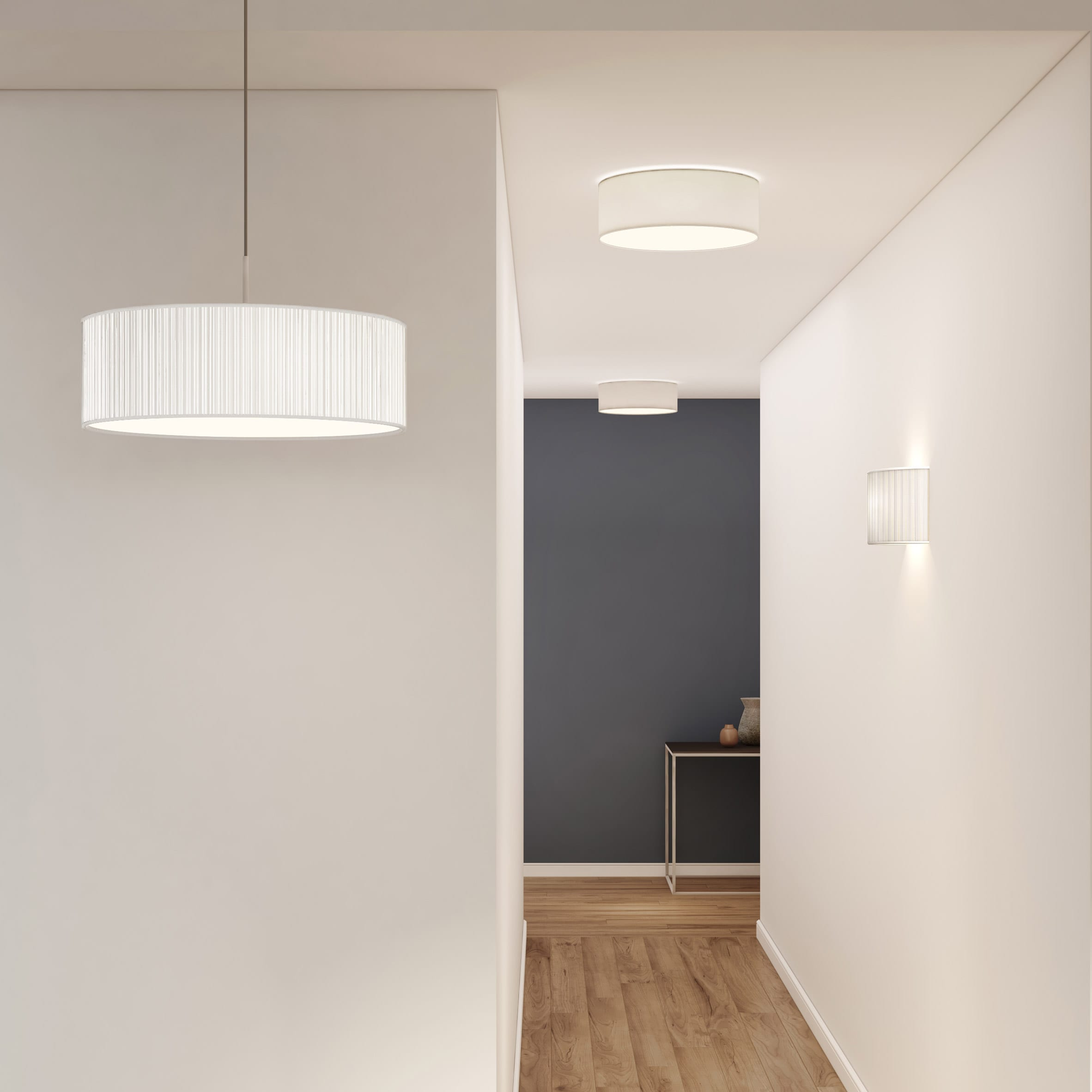 Cambria lighting range by Astro Lighting including pendant light, ceiling light and wall light in a domestic hallway