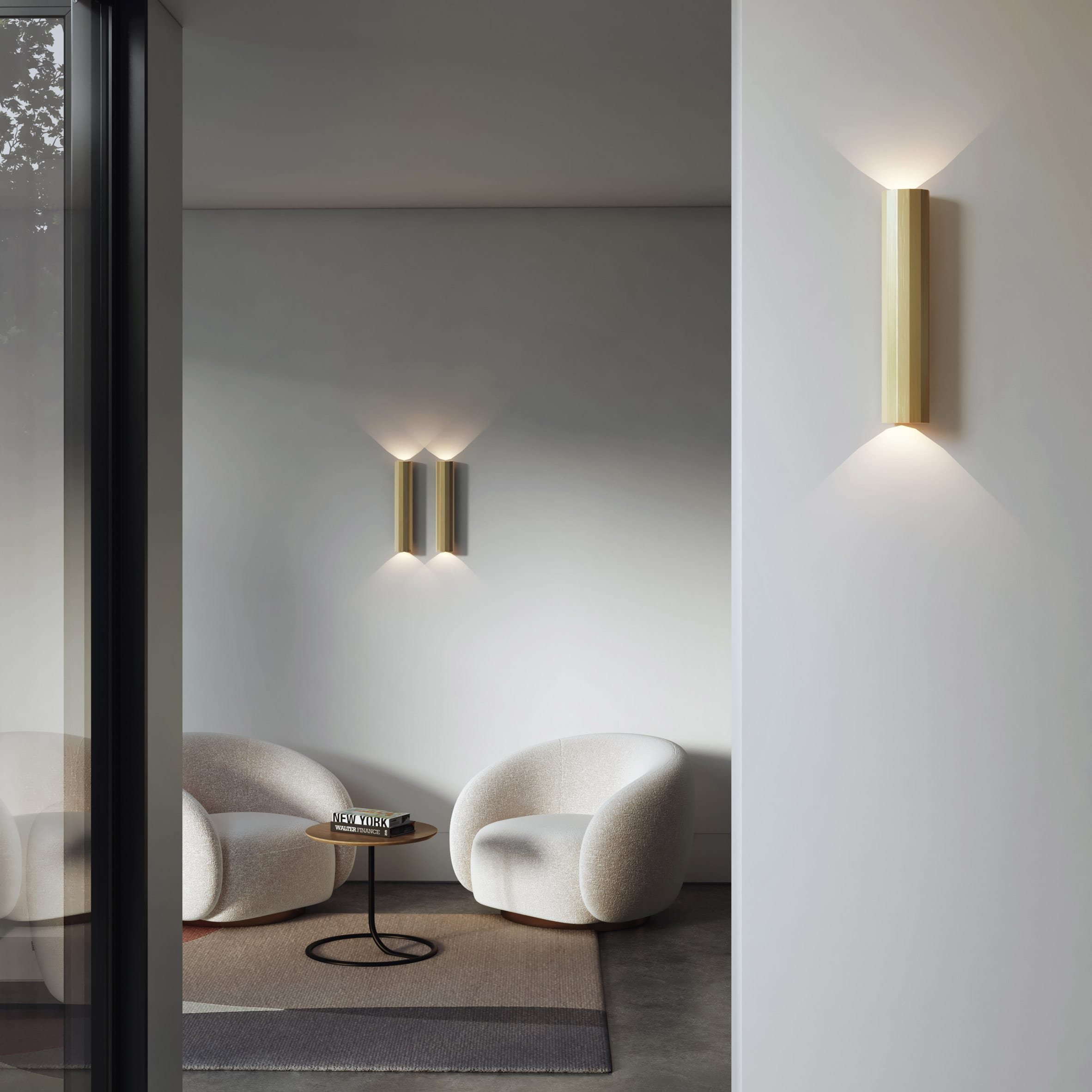 Hashira lights by Astro Lighting affixed to a wall in a living room
