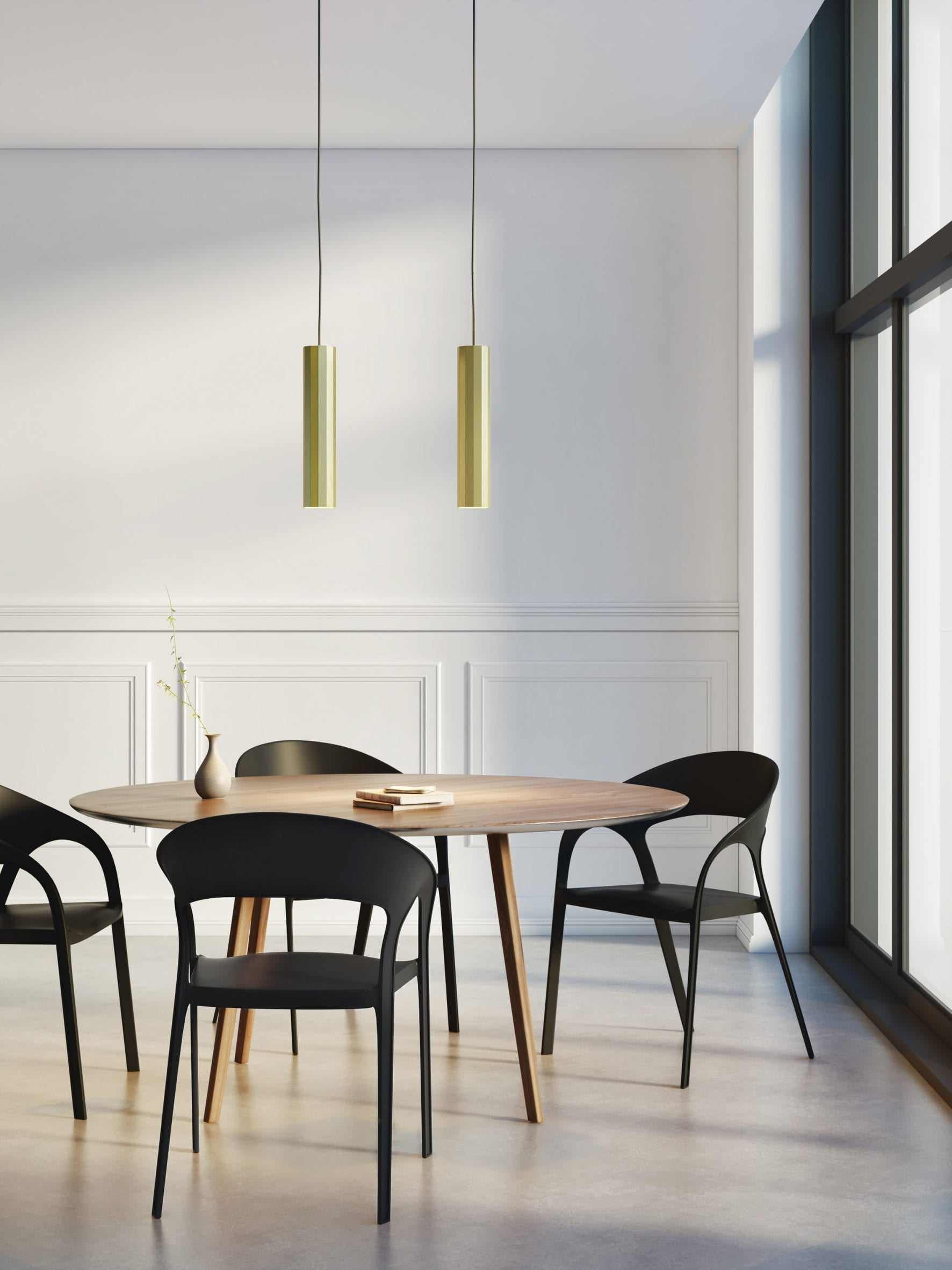 Hashira pendant lights by Astro Lighting suspended above a dining table