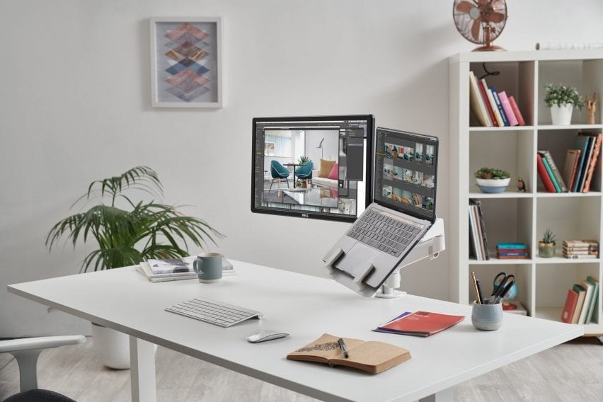 Colebrook Bosson Saunders' monitor arm and laptop mount secured to a desk