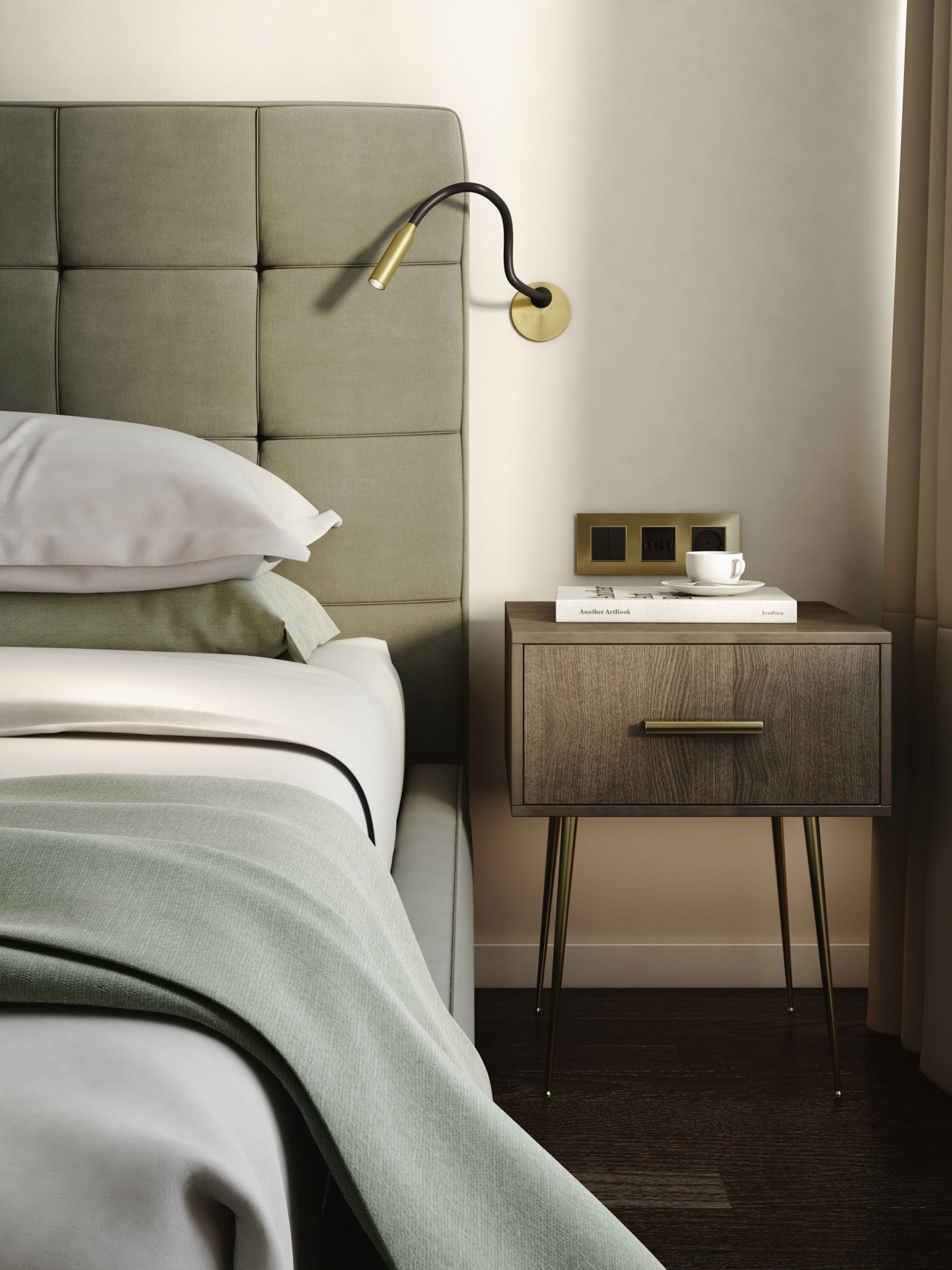 Lucca reading light by Astro Lighting mounted to a wall perched next to a bed