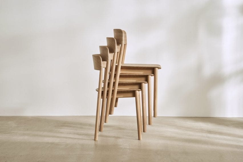 The chairs can be stacked