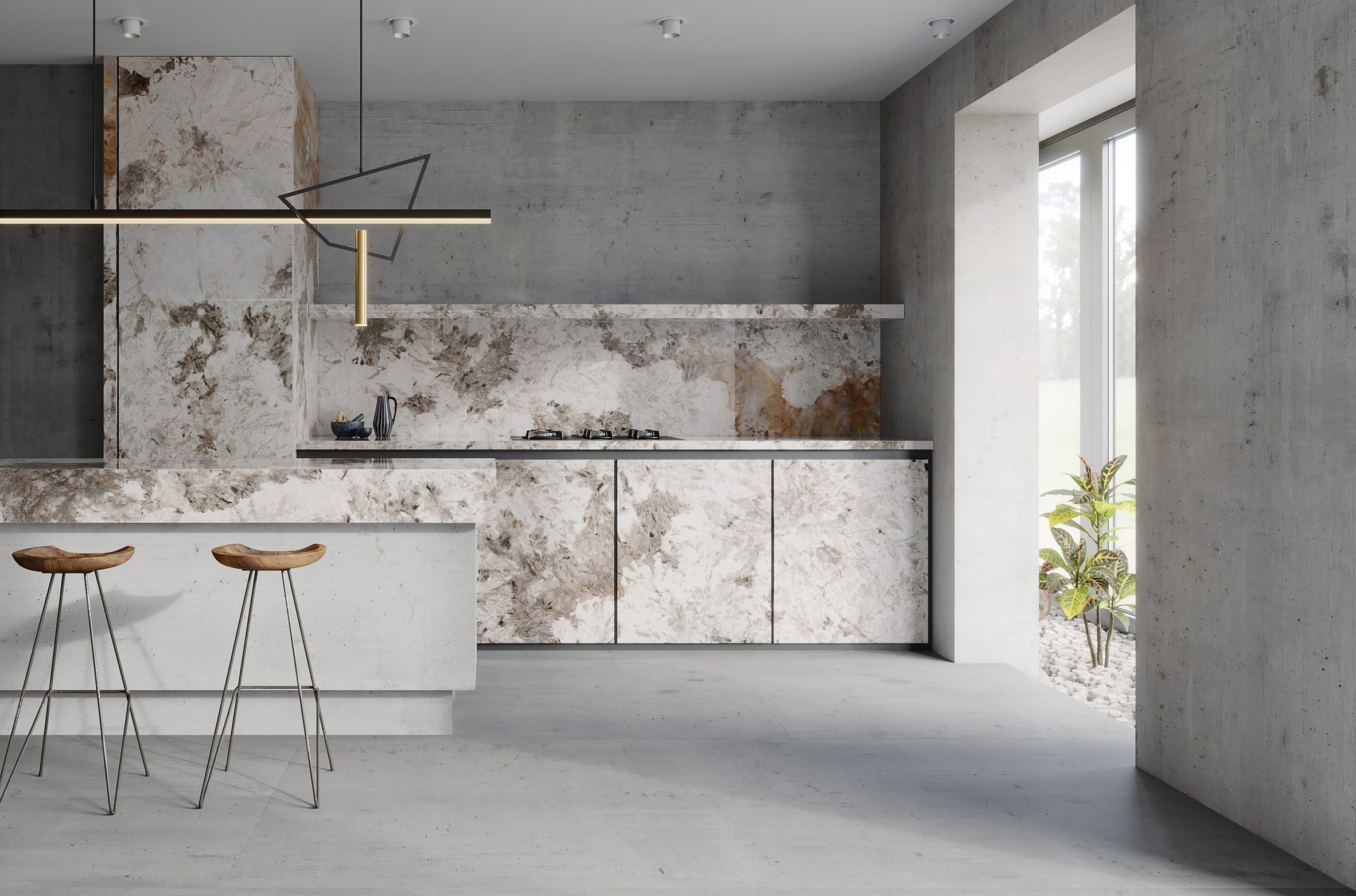 Patagonia porcelain marble-effect tile by Apavisa in a kitchen