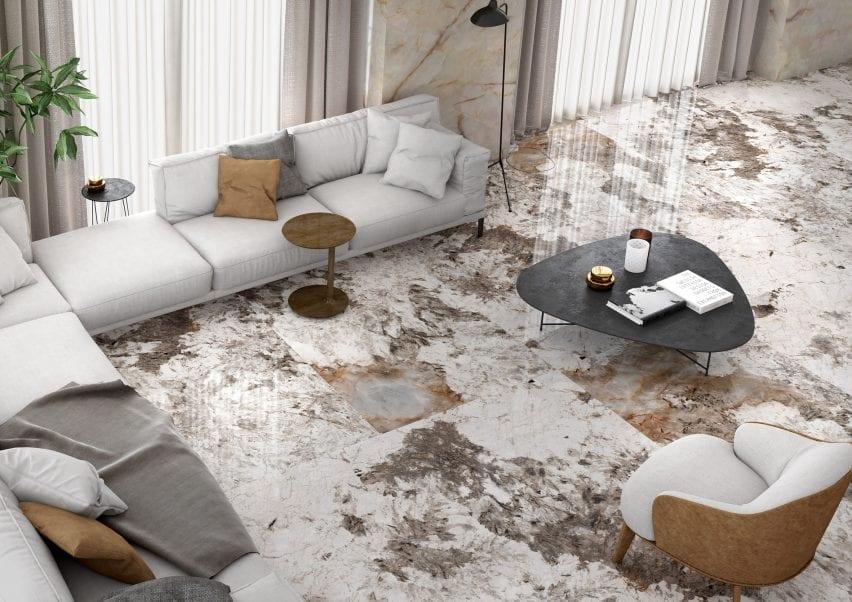 Patagonia porcelain marble-effect tile by Apavisa on a living room floor