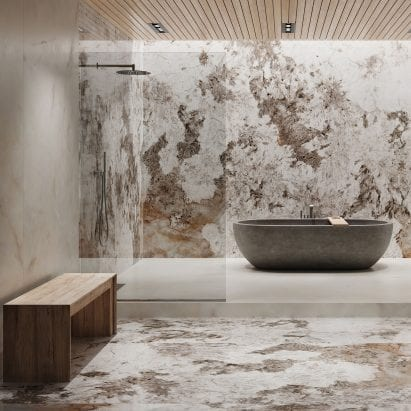 Patagonia porcelain marble-effect tile by Apavisa