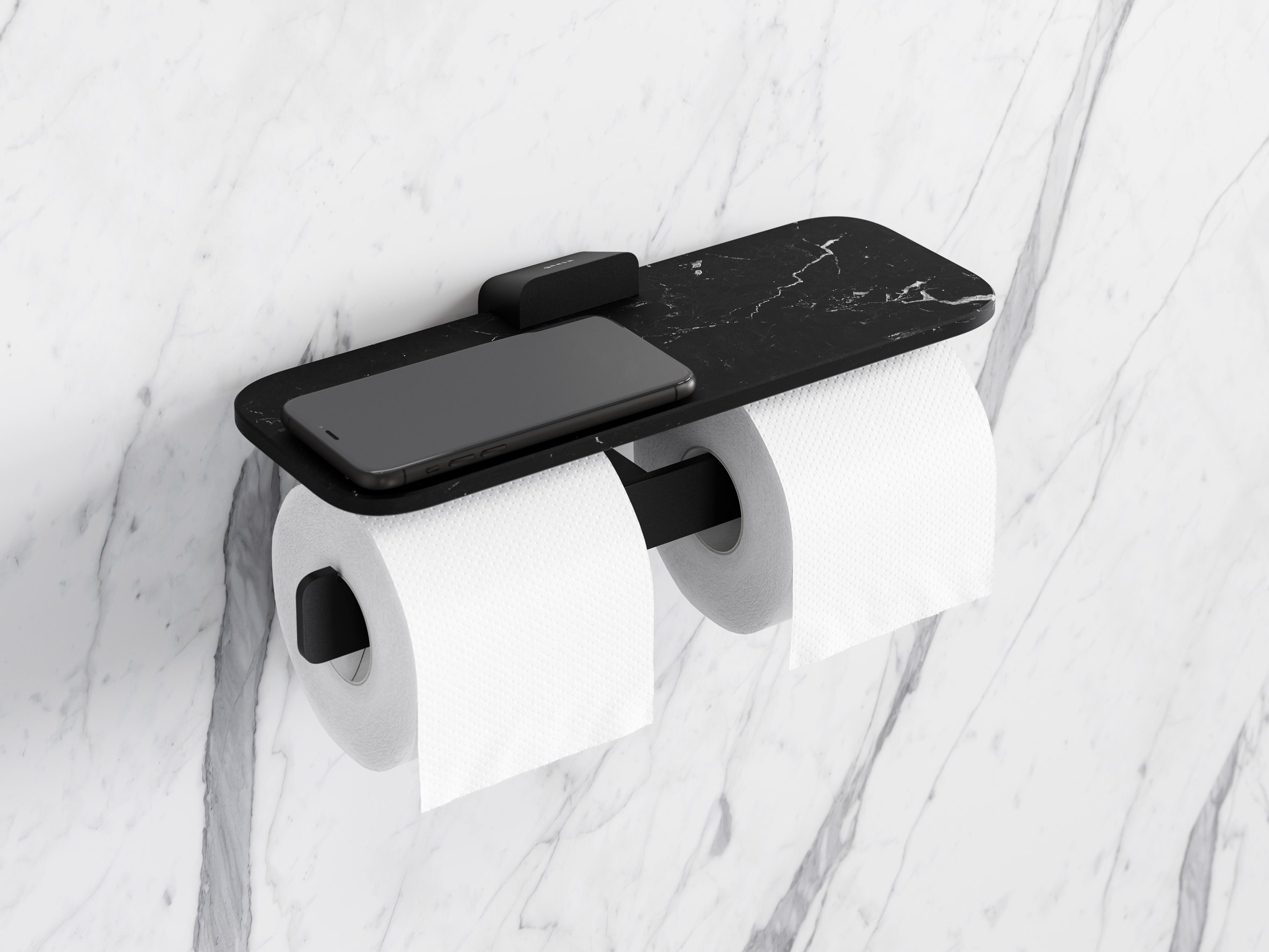 Shift double toilet roll holder with black marble shelf