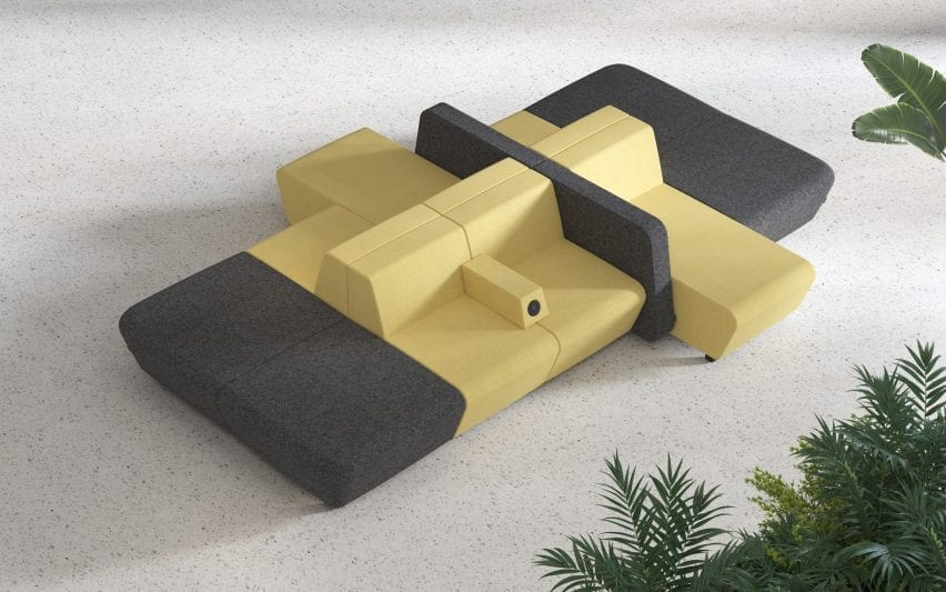Yellow and grey modular seating with armrests that have in-built chargers