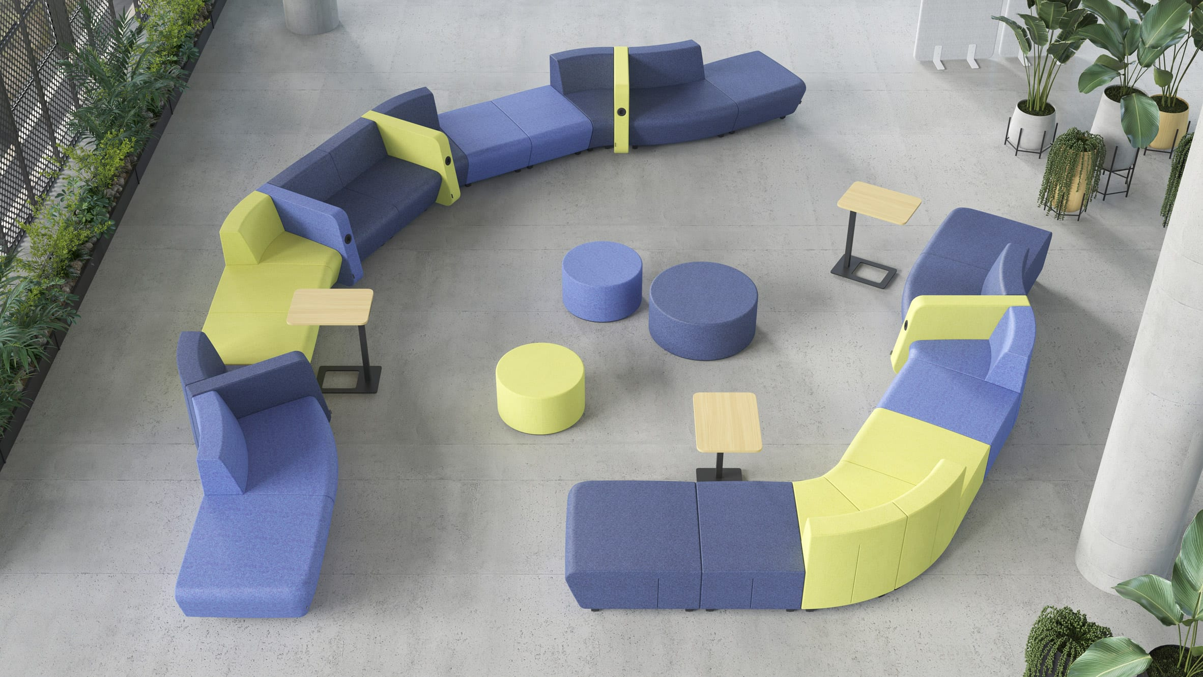 Elaborate arrangement of modular seating with screen dividers, side tables and in-built chargers