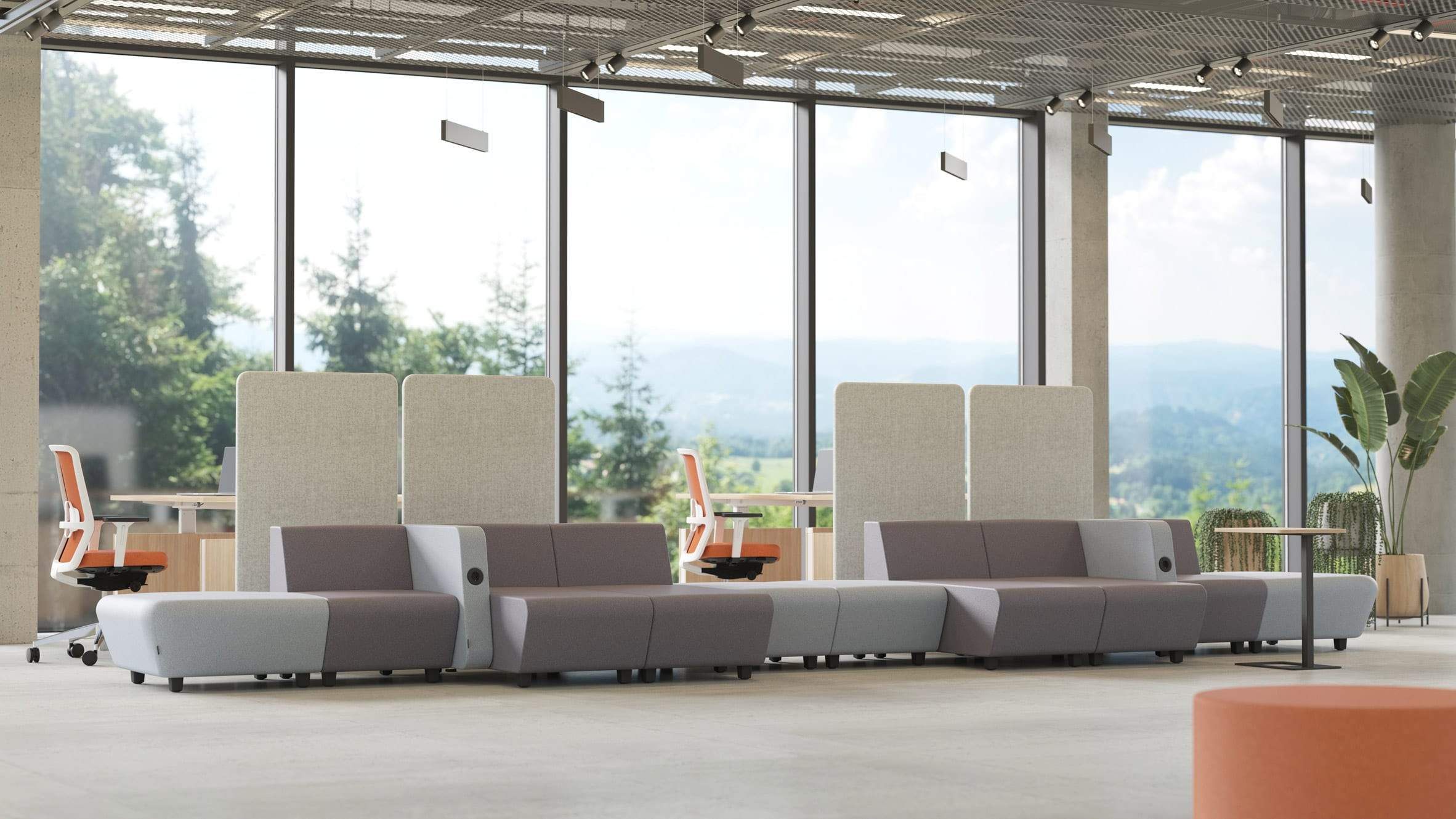 Grey modular seating situated in an office environment