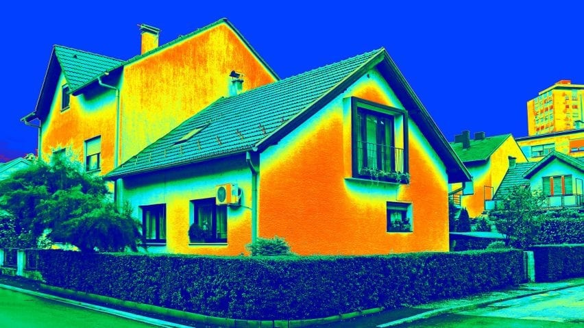 Thermal image of heat loss from house