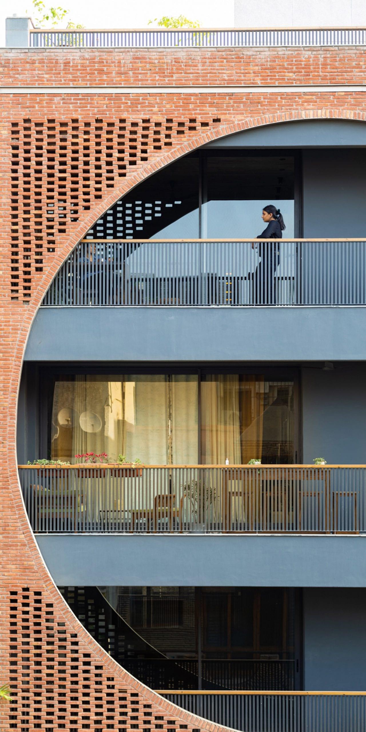 The Safdarjang Residence has a dark grey and brick exterior