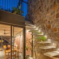 Steps lead to a terrace