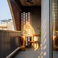 Light creates patterns on the balcony
