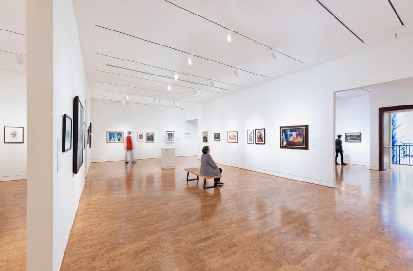 Revamped galleries inside an art museum damaged by a hurricane