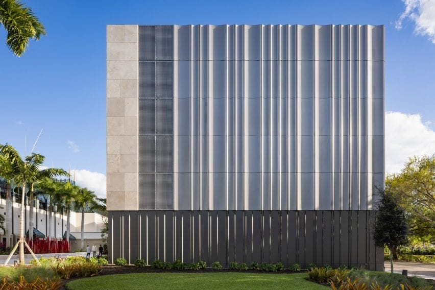 Limestone and metal facade of the Baker Museum in Florida