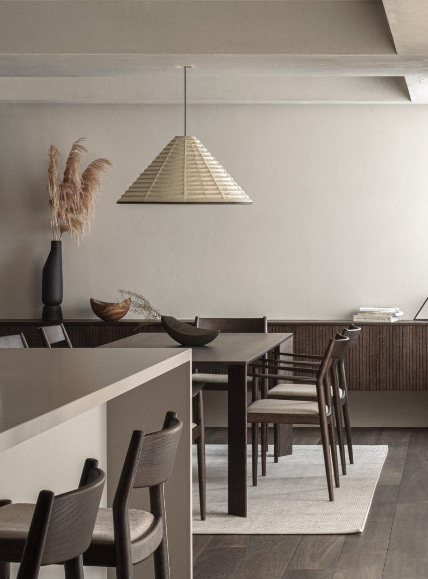 Dining area with dark-wood table