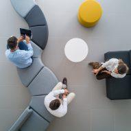 A curved modular sofa