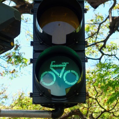 Bicycle stop light for Aaron Betsky's cycling in suburbia opinion