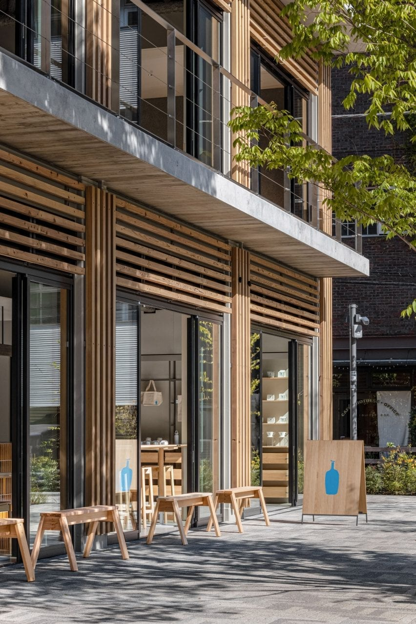 Wooden facade of a blue bottle of Shibuya coffee