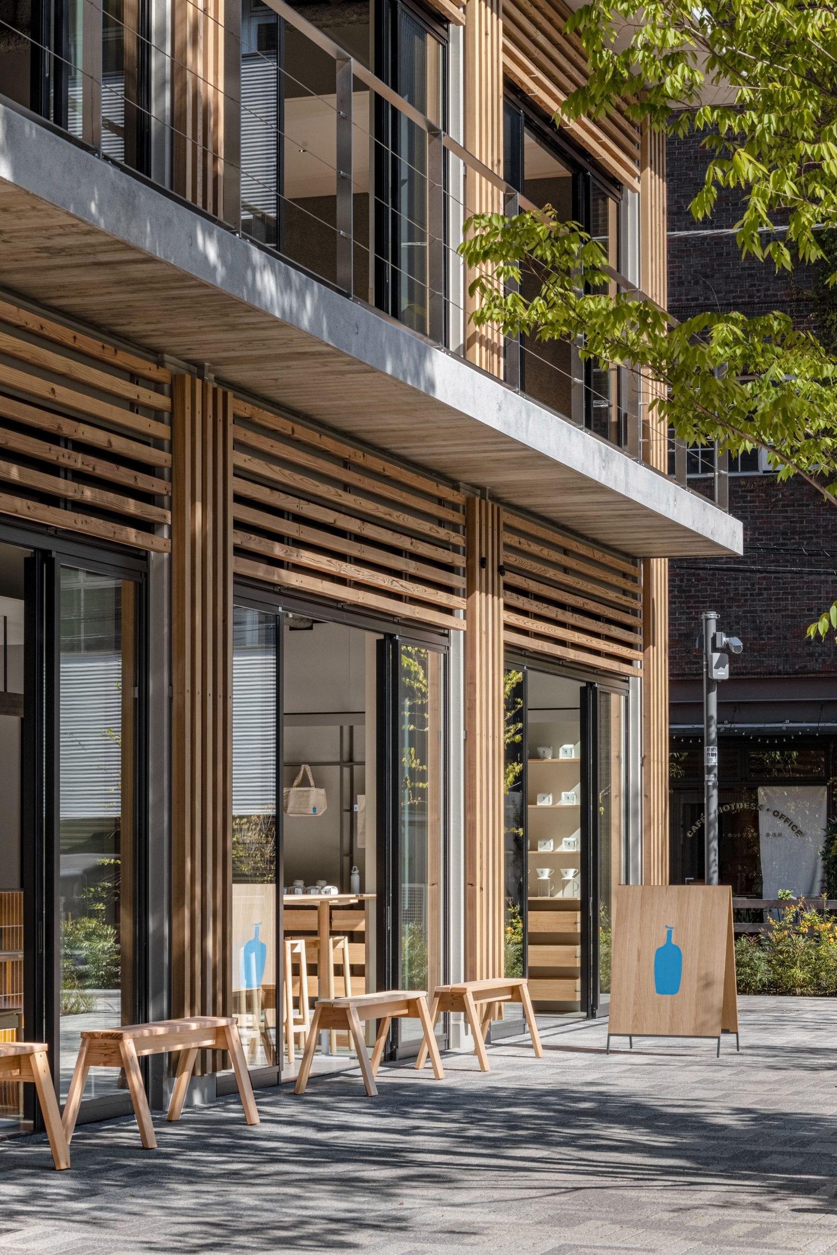 Timber-clad facade of Blue Bottle Coffee Shibuya