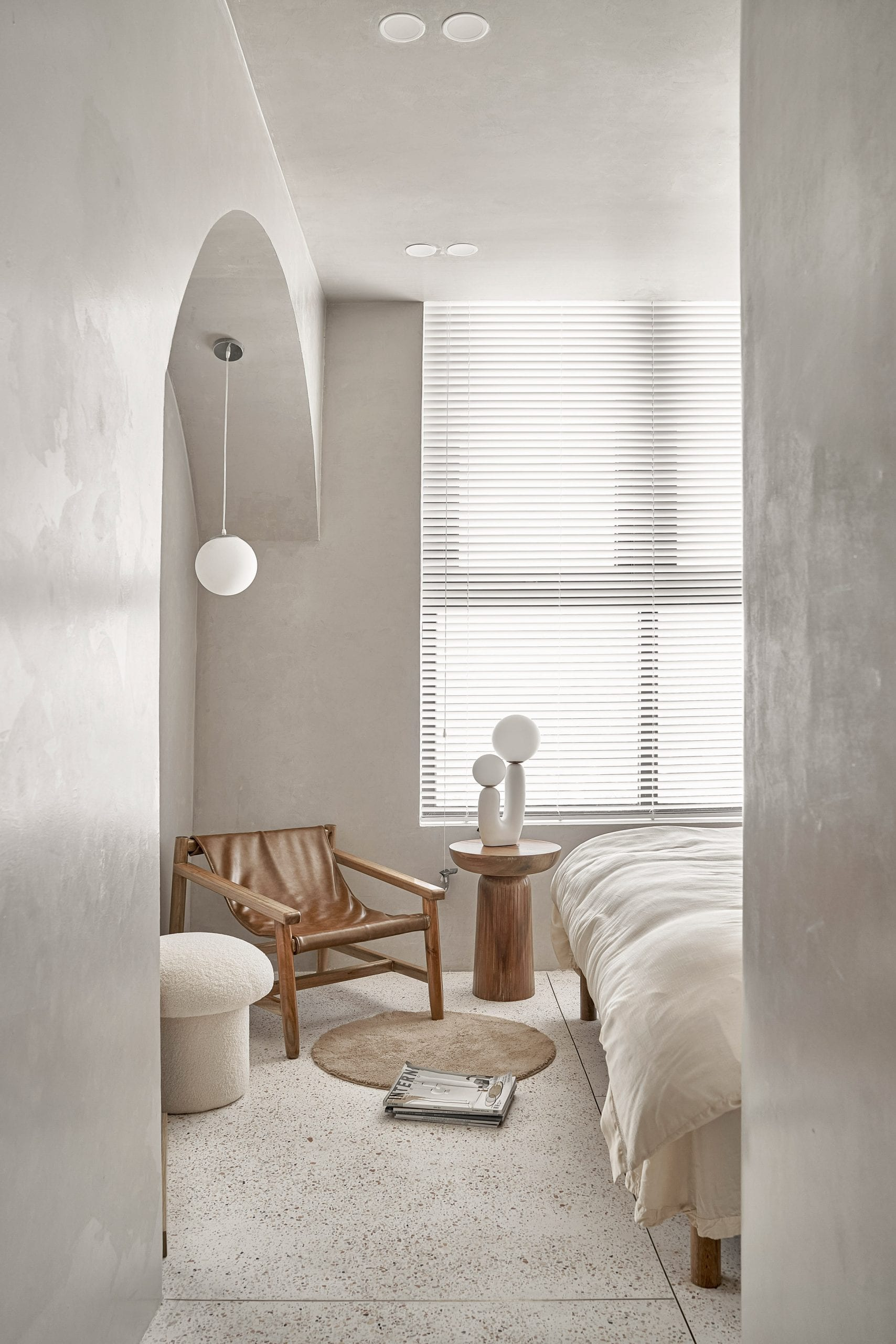 Terrazzo was used in the bedroom of the apartment