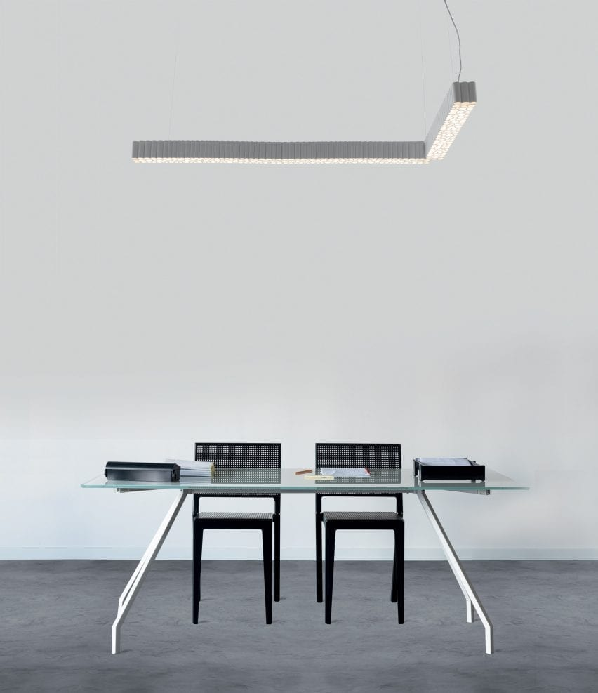 A Calipso light hanging above an office desk