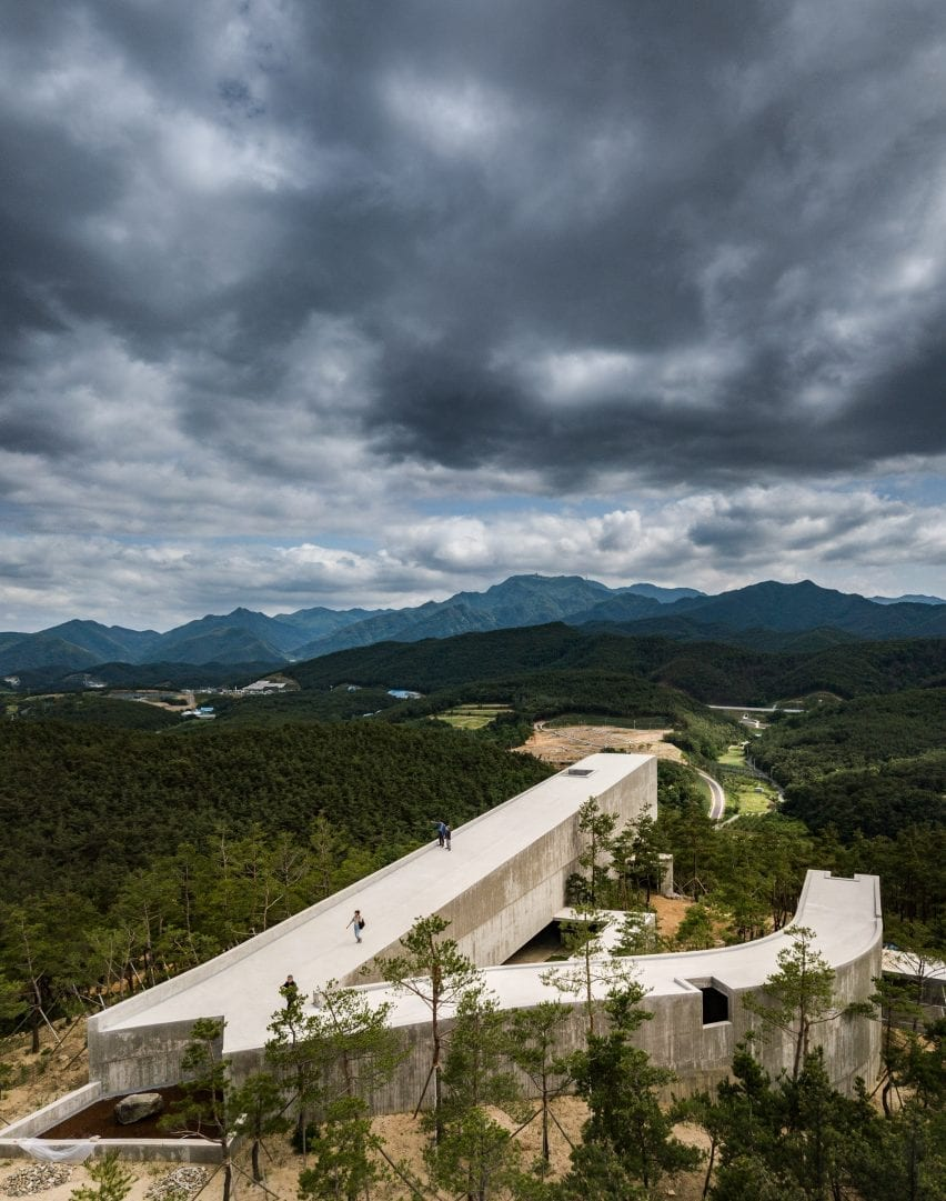 Saya Park Art Pavilion overlooks hills and mountains