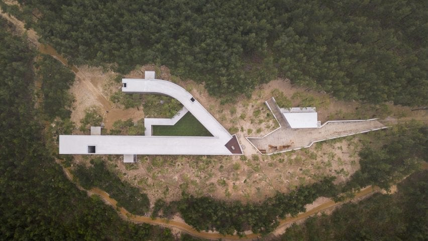 Aerial view of the art pavilion