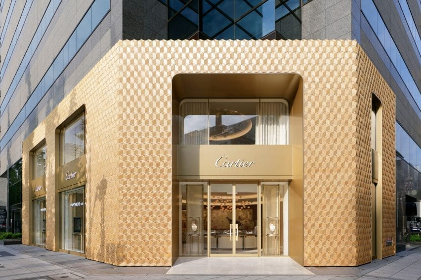 The Cartier store was covered in decorative wood by Klein Dytham Architecture
