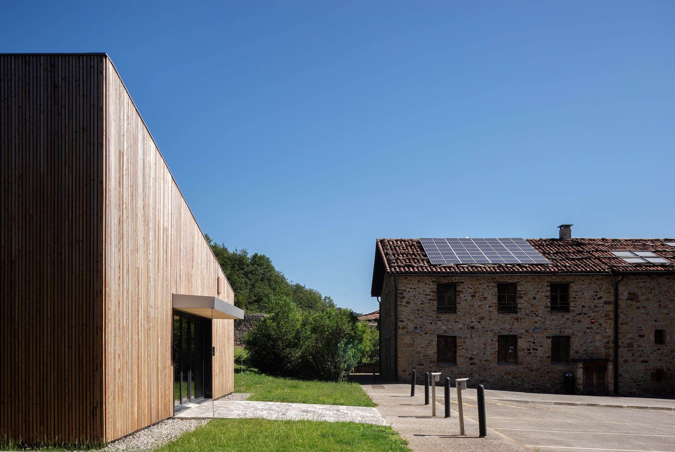 Traditional buildings surround pilgrims house