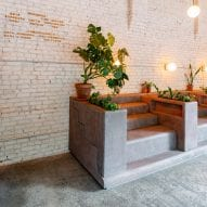 Daughter cafe in Brooklyn has stepped seating that mimics brownstone stoops