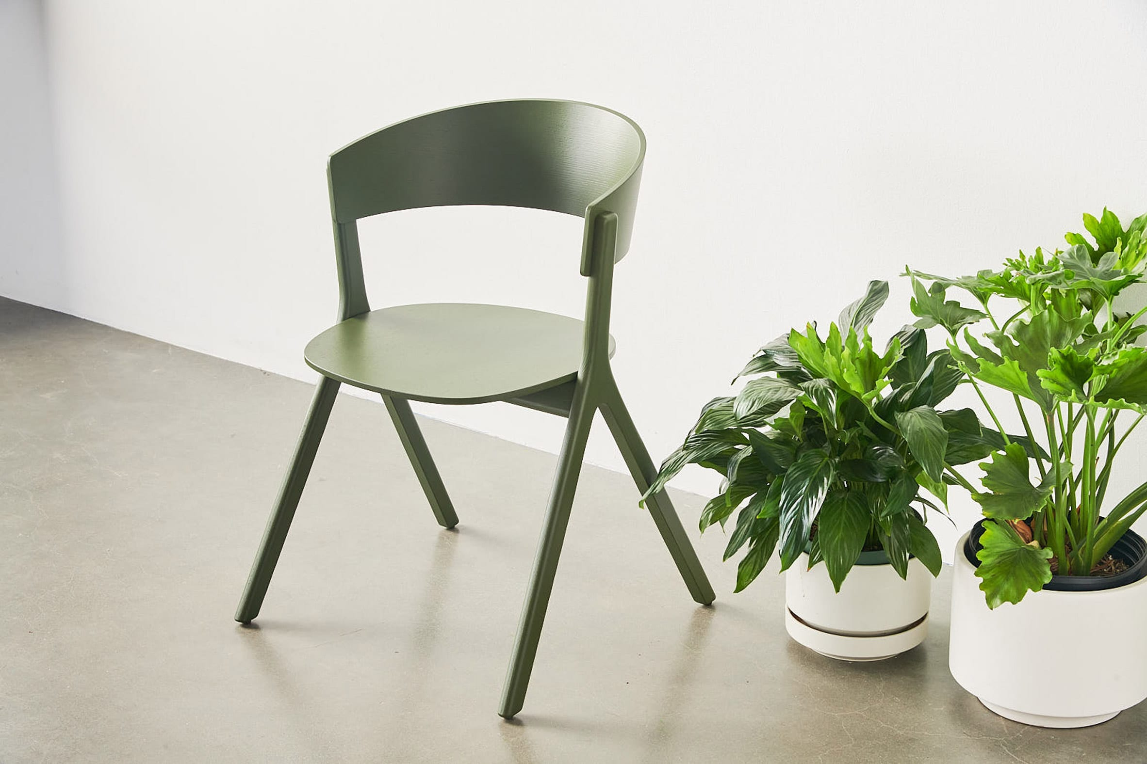 Green Circus Wood chair next to plants