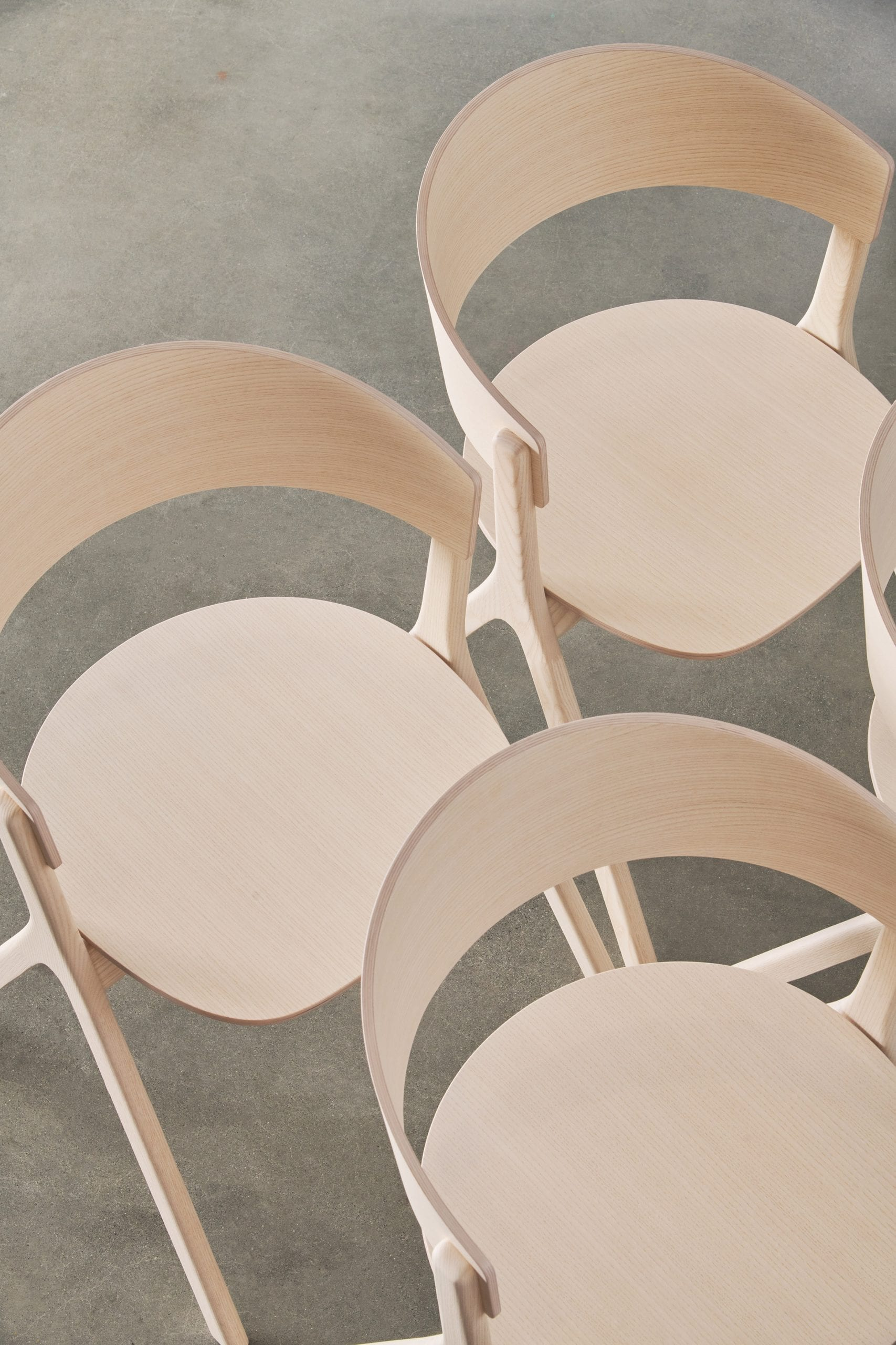 Aerial view of three Circus Wood chairs by Edits