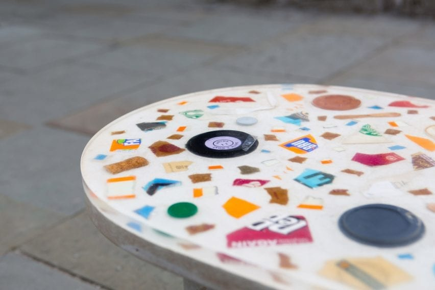 A bench seat made with litter
