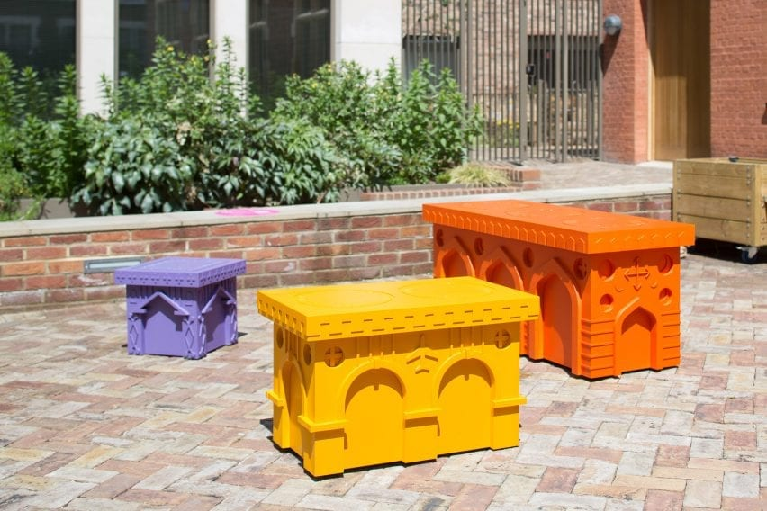 The Monuments to Mingling benches in Aldgate