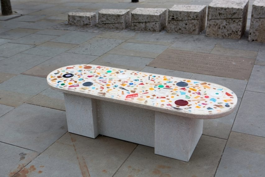 A public bench made with litter for LFA