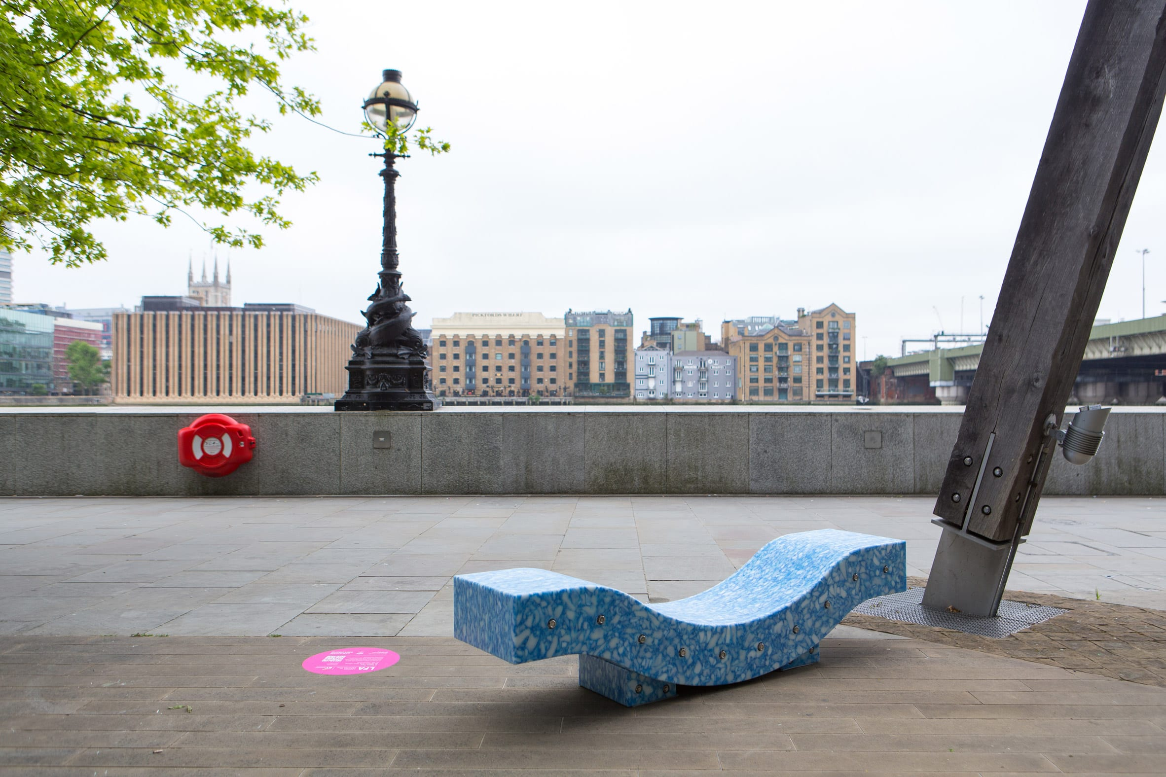 A recycled plastic bench in London