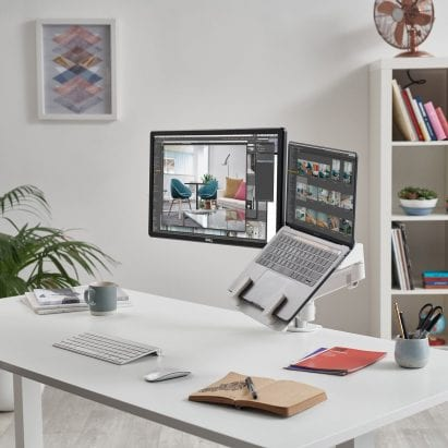 Colebrook Bosson Saunders desk set up with laptop mount and monitor arm