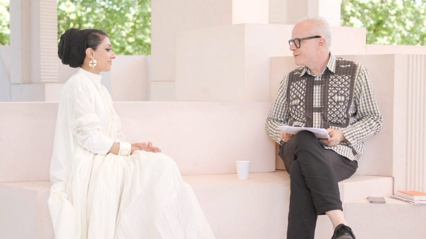 Sumayya Vally and Hans Ulrich Obrist at the Serpentine Pavilion 2021