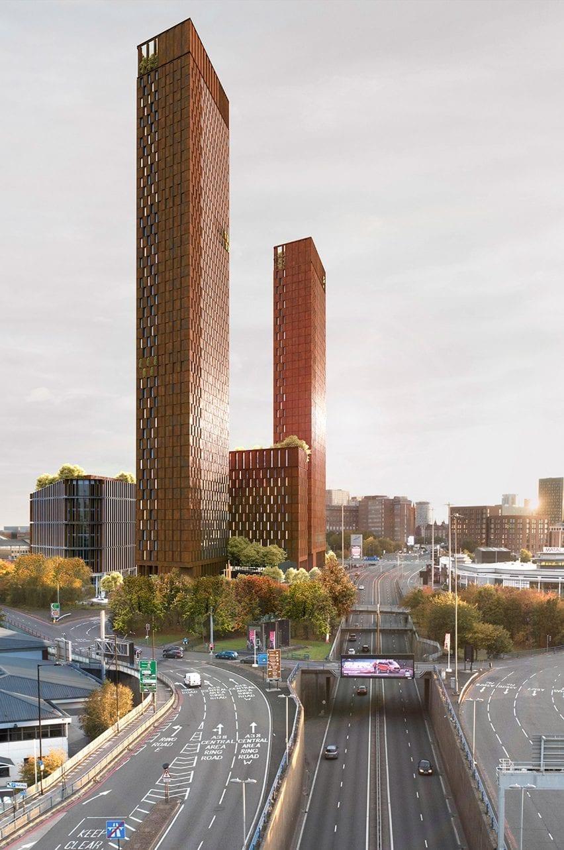 A visual of Corten steel-clad towers in Birmingham