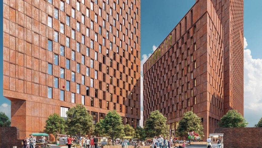 A visual of Corten steel-clad buildings in Birmingham