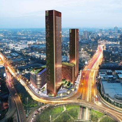 A visual of skyscrapers in Birmingham