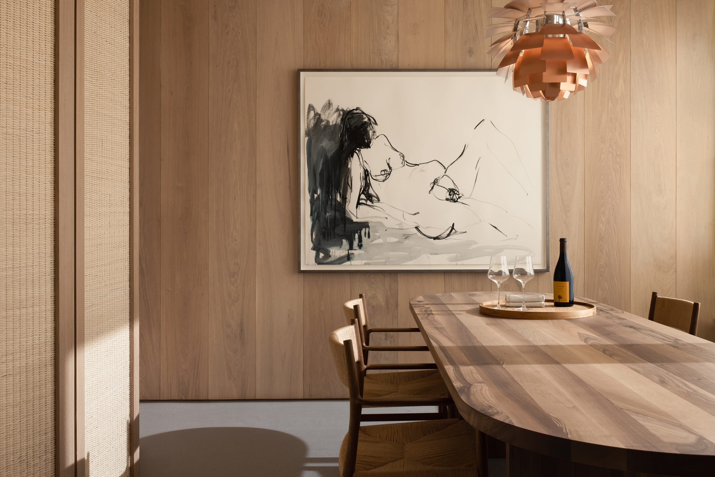 Pendant lights are part of the home's design