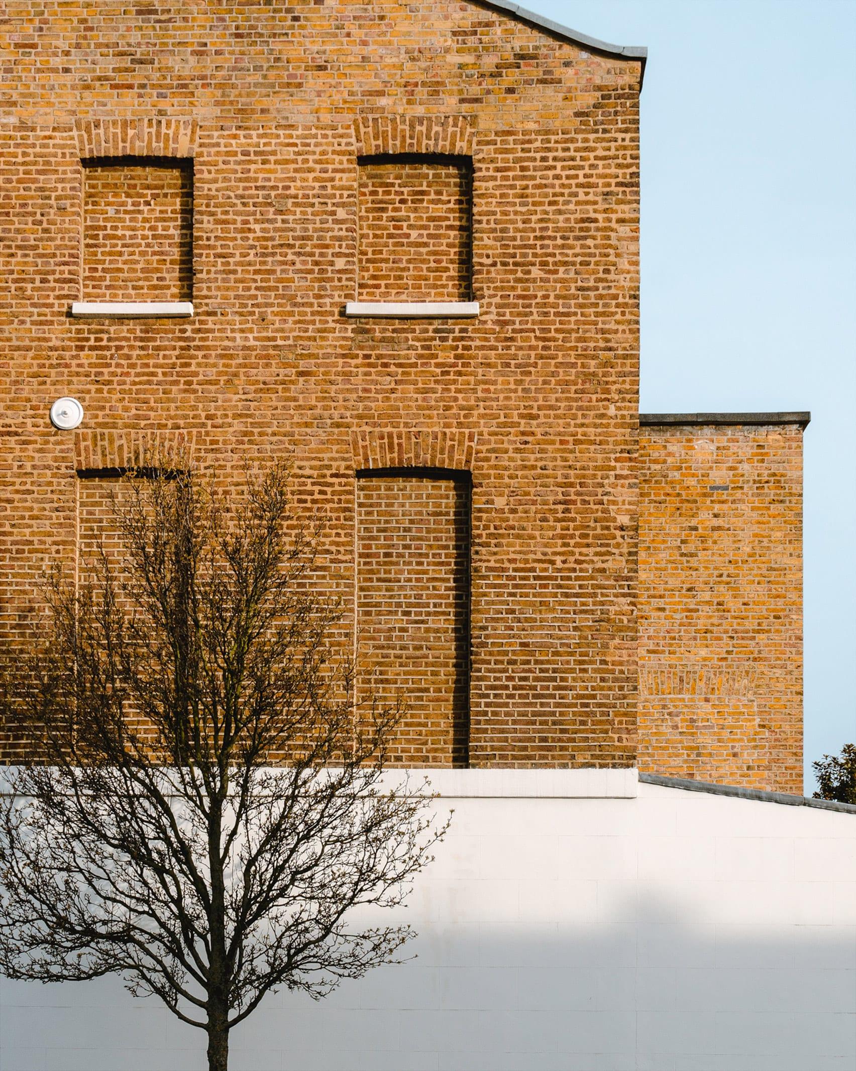 A brick facade of a London house