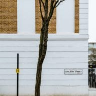 A London house with a white and brick facade