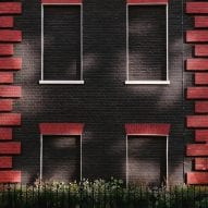 Bricked-up windows of a black house in London
