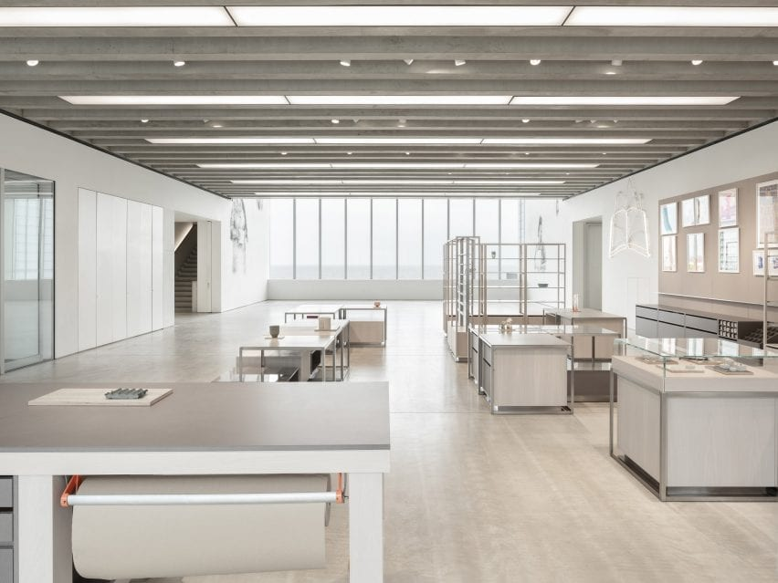 View the interior of the store by Daytrip with simple gray tables to display