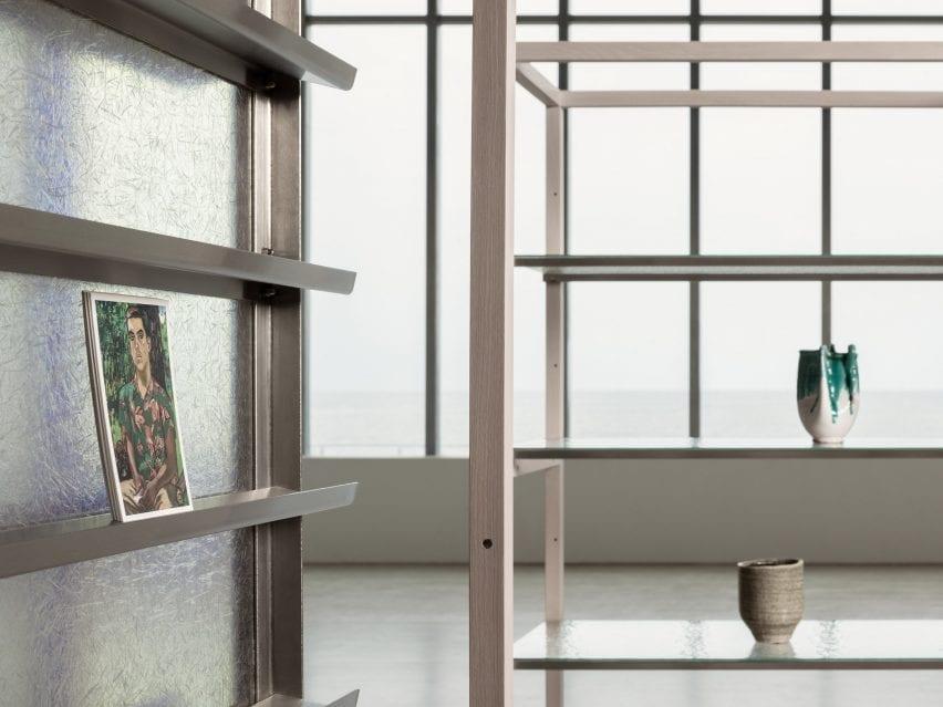 A fiberglass shelf displaying artwork in the Turner Contemporary Store